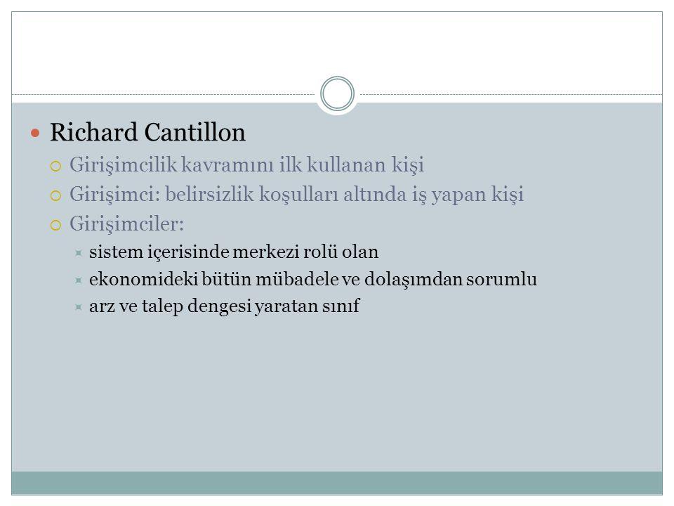 Richard Cantillon Girişimcilik kavramını ilk kullanan kişi