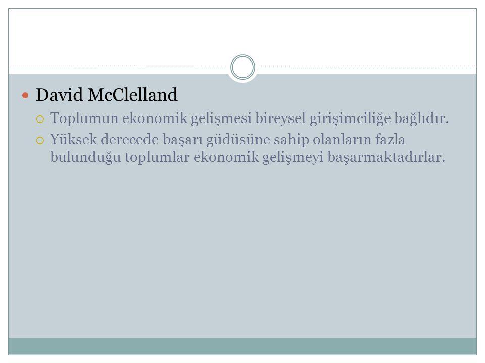 David McClelland Toplumun ekonomik gelişmesi bireysel girişimciliğe bağlıdır.