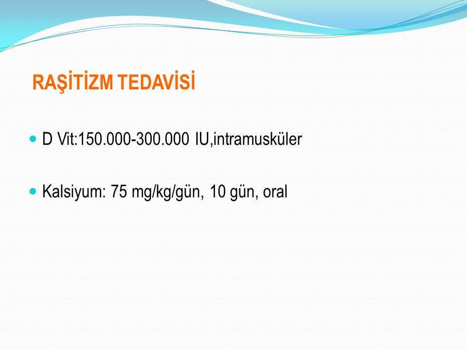 RAŞİTİZM TEDAVİSİ D Vit:150.000-300.000 IU,intramusküler