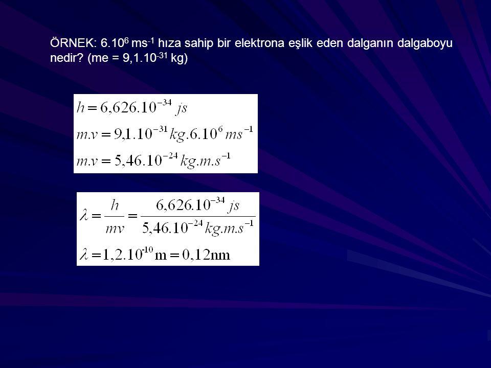 ÖRNEK: 6.106 ms-1 hıza sahip bir elektrona eşlik eden dalganın dalgaboyu