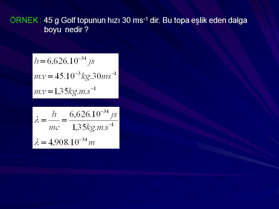 ÖRNEK : 45 g Golf topunun hızı 30 ms-1 dir. Bu topa eşlik eden dalga