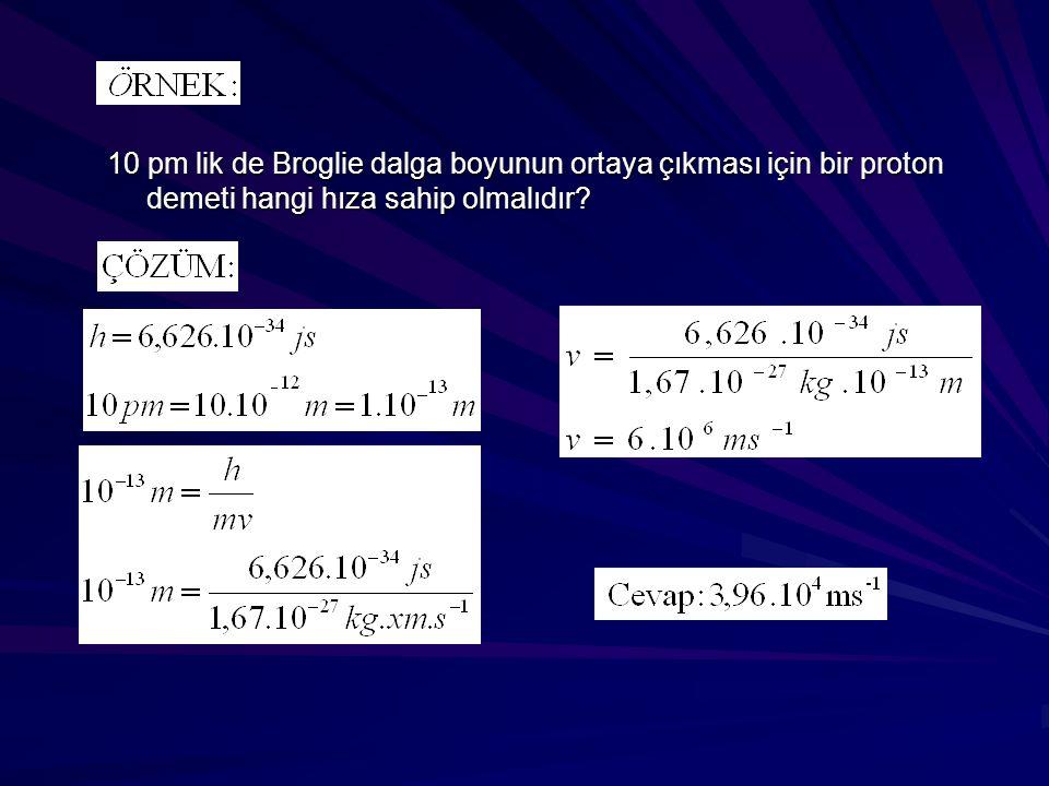 10 pm lik de Broglie dalga boyunun ortaya çıkması için bir proton demeti hangi hıza sahip olmalıdır