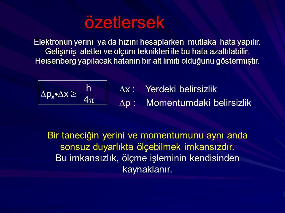 özetlersek h x : Yerdeki belirsizlik p : Momentumdaki belirsizlik