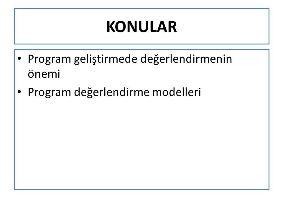 KONULAR Program geliştirmede değerlendirmenin önemi