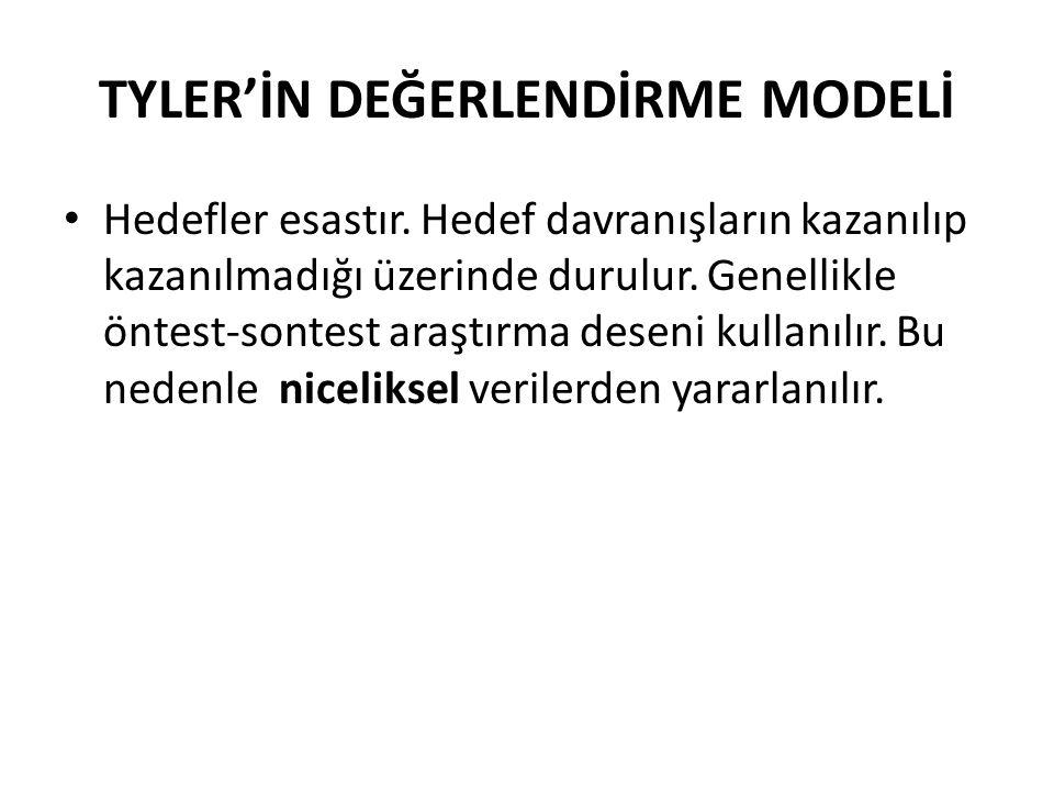 TYLER'İN DEĞERLENDİRME MODELİ