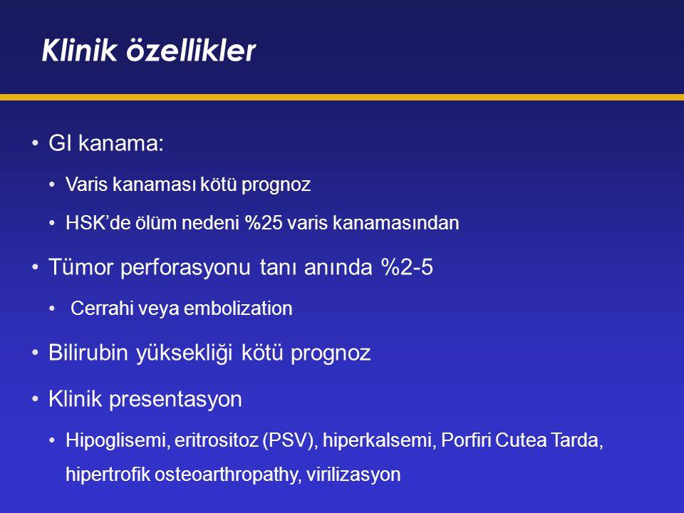 Klinik özellikler GI kanama: Tümor perforasyonu tanı anında %2-5
