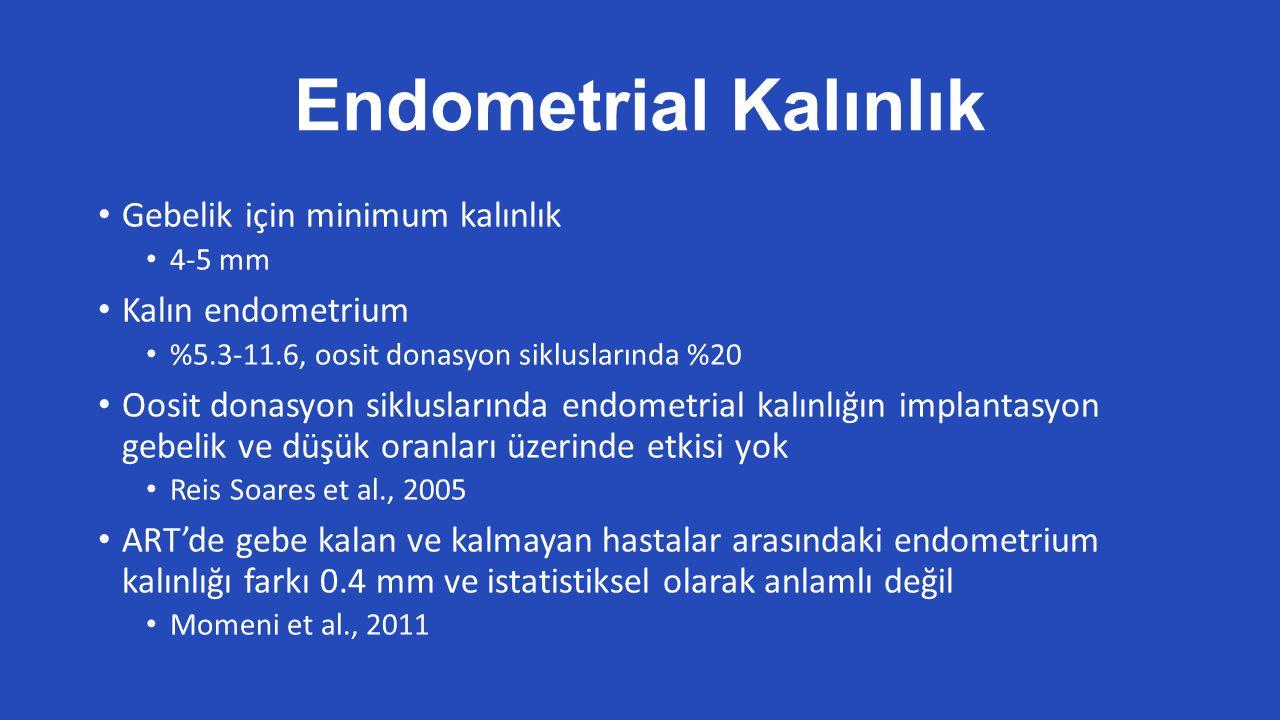 Endometrial Kalınlık Gebelik için minimum kalınlık Kalın endometrium