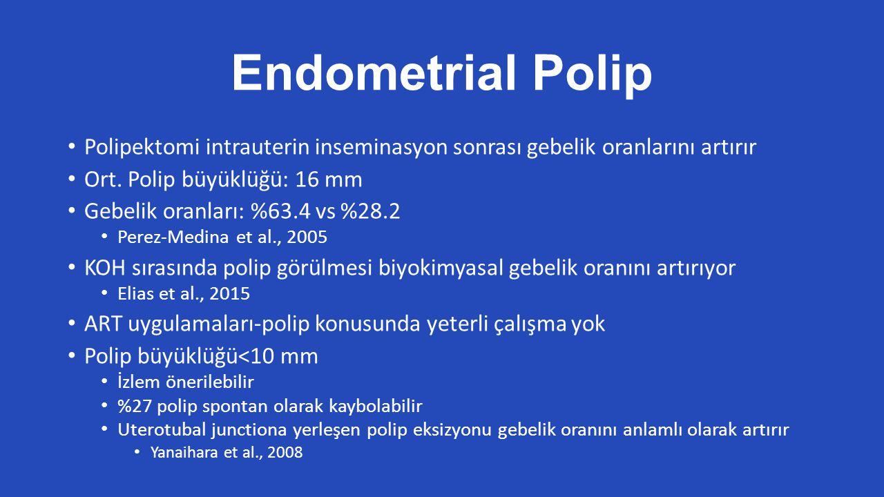 Endometrial Polip Polipektomi intrauterin inseminasyon sonrası gebelik oranlarını artırır. Ort. Polip büyüklüğü: 16 mm.