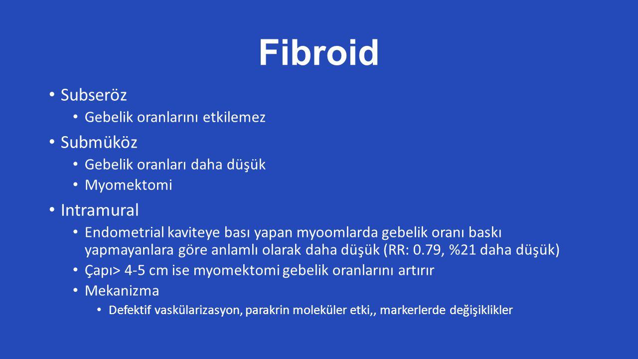 Fibroid Subseröz Submüköz Intramural Gebelik oranlarını etkilemez