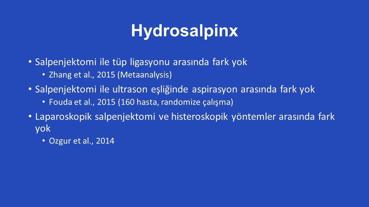 Hydrosalpinx Salpenjektomi ile tüp ligasyonu arasında fark yok