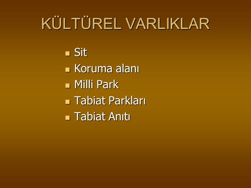 KÜLTÜREL VARLIKLAR Sit Koruma alanı Milli Park Tabiat Parkları