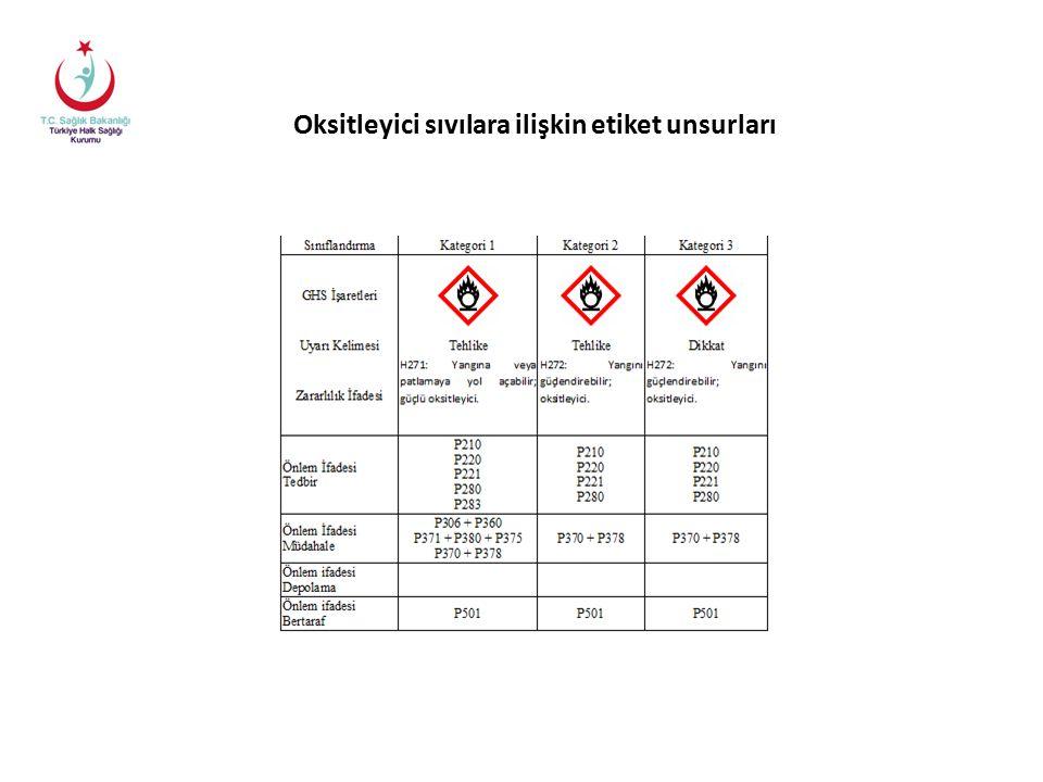 Oksitleyici sıvılara ilişkin etiket unsurları