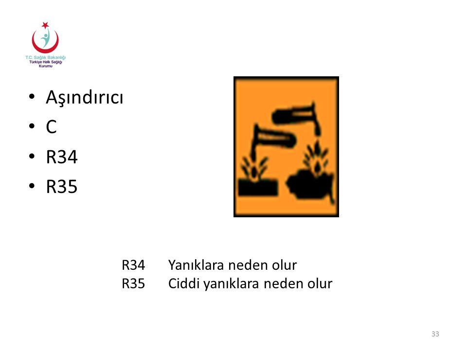 Aşındırıcı C R34 R35 R34 Yanıklara neden olur
