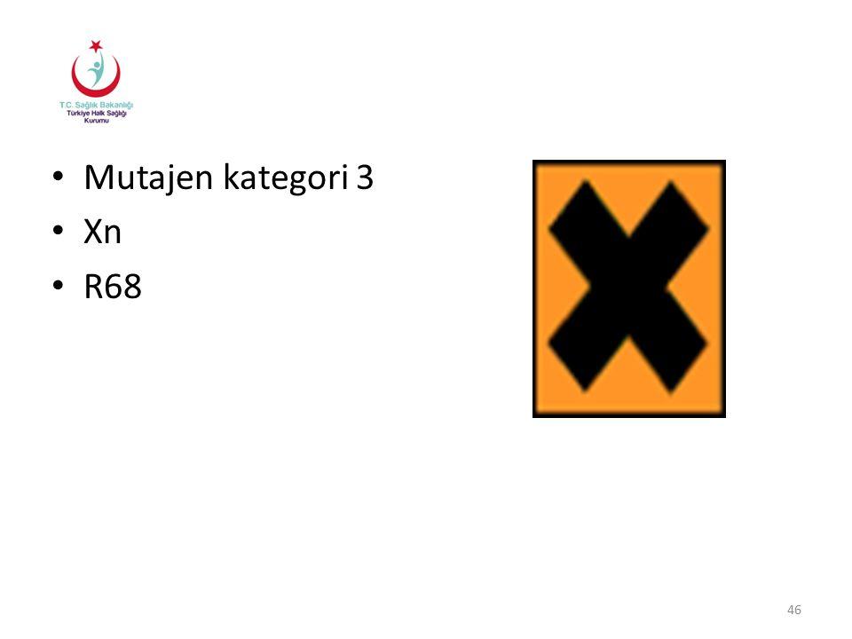 Mutajen kategori 3 Xn R68