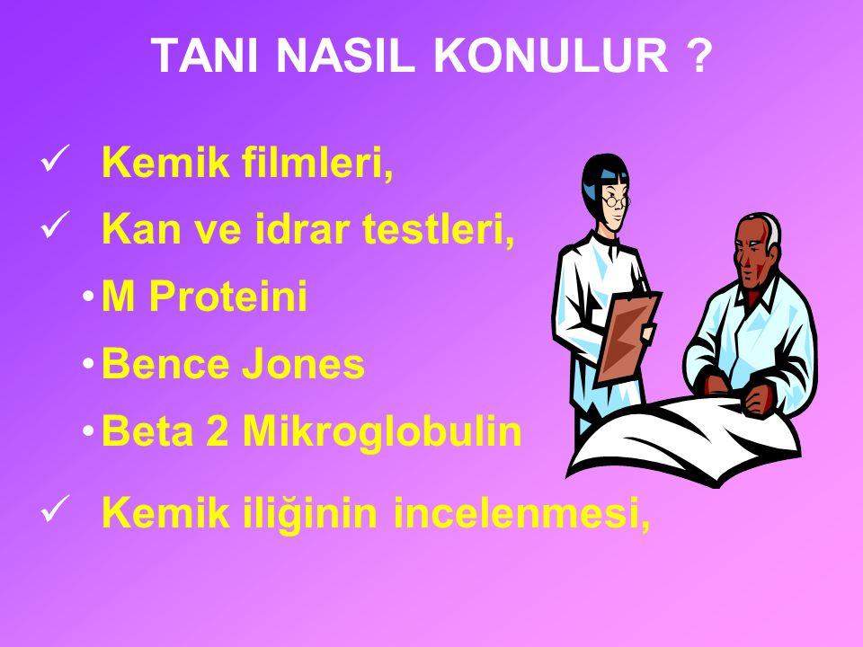 TANI NASIL KONULUR Kemik filmleri, Kan ve idrar testleri, M Proteini