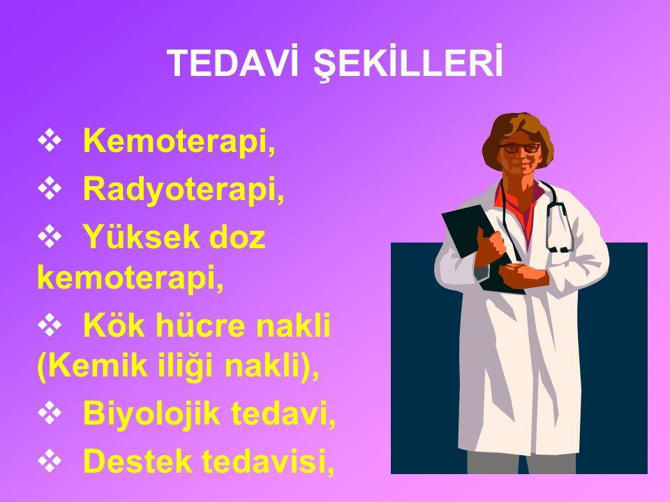 TEDAVİ ŞEKİLLERİ Kemoterapi, Radyoterapi, Yüksek doz kemoterapi,