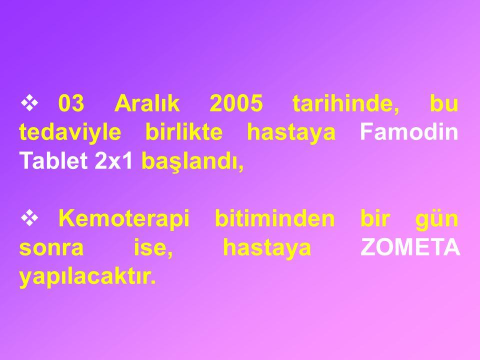 03 Aralık 2005 tarihinde, bu tedaviyle birlikte hastaya Famodin Tablet 2x1 başlandı,