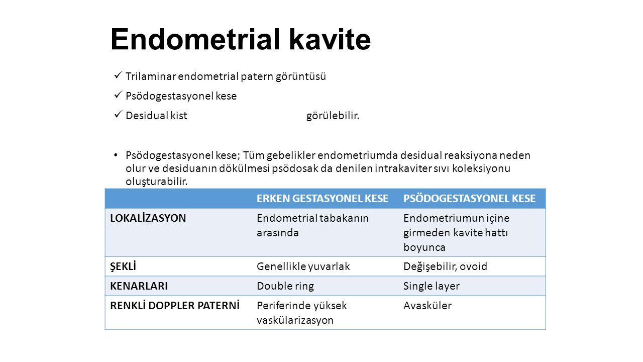 Endometrial kavite Trilaminar endometrial patern görüntüsü