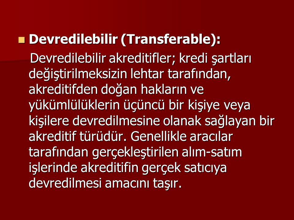 Devredilebilir (Transferable):