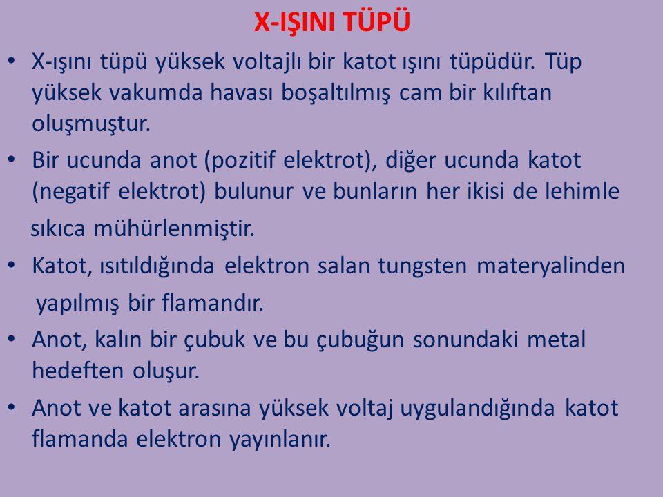 X-IŞINI TÜPÜ X-ışını tüpü yüksek voltajlı bir katot ışını tüpüdür. Tüp yüksek vakumda havası boşaltılmış cam bir kılıftan oluşmuştur.