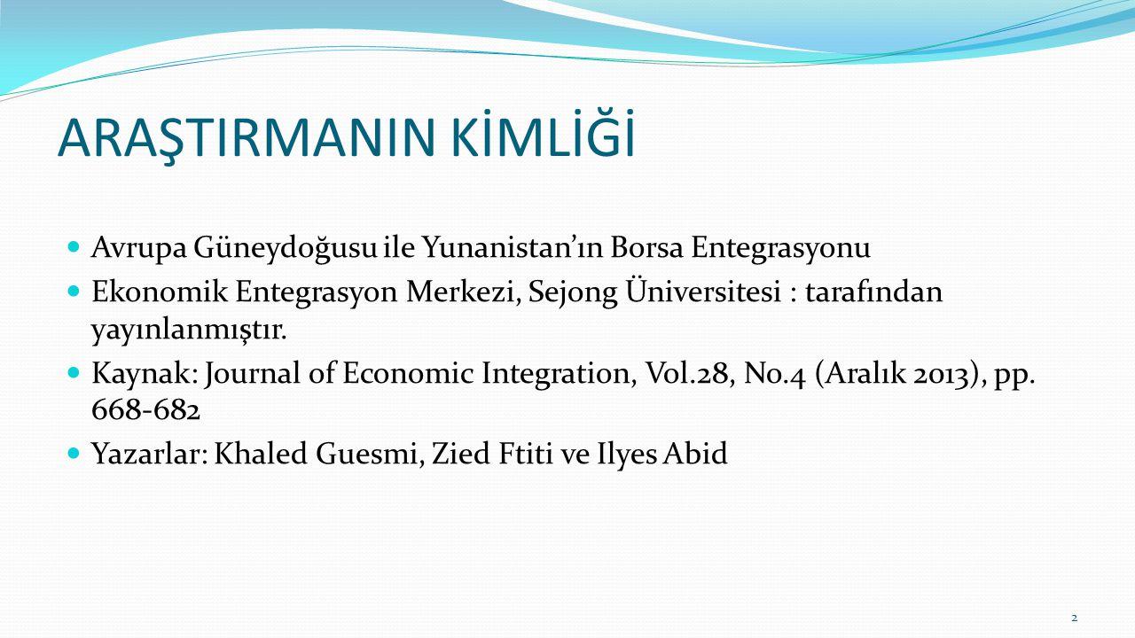 ARAŞTIRMANIN KİMLİĞİ Avrupa Güneydoğusu ile Yunanistan'ın Borsa Entegrasyonu.