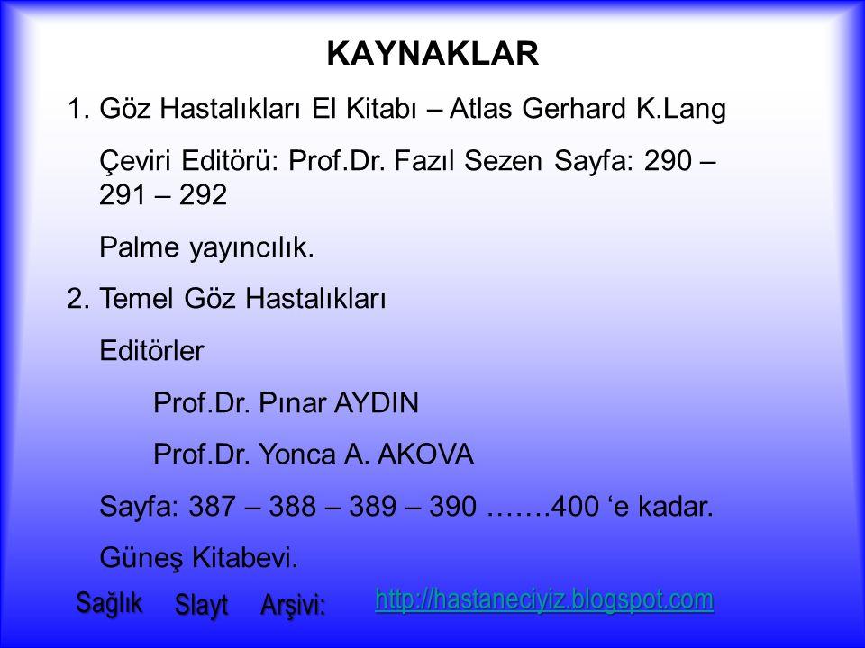 KAYNAKLAR Göz Hastalıkları El Kitabı – Atlas Gerhard K.Lang