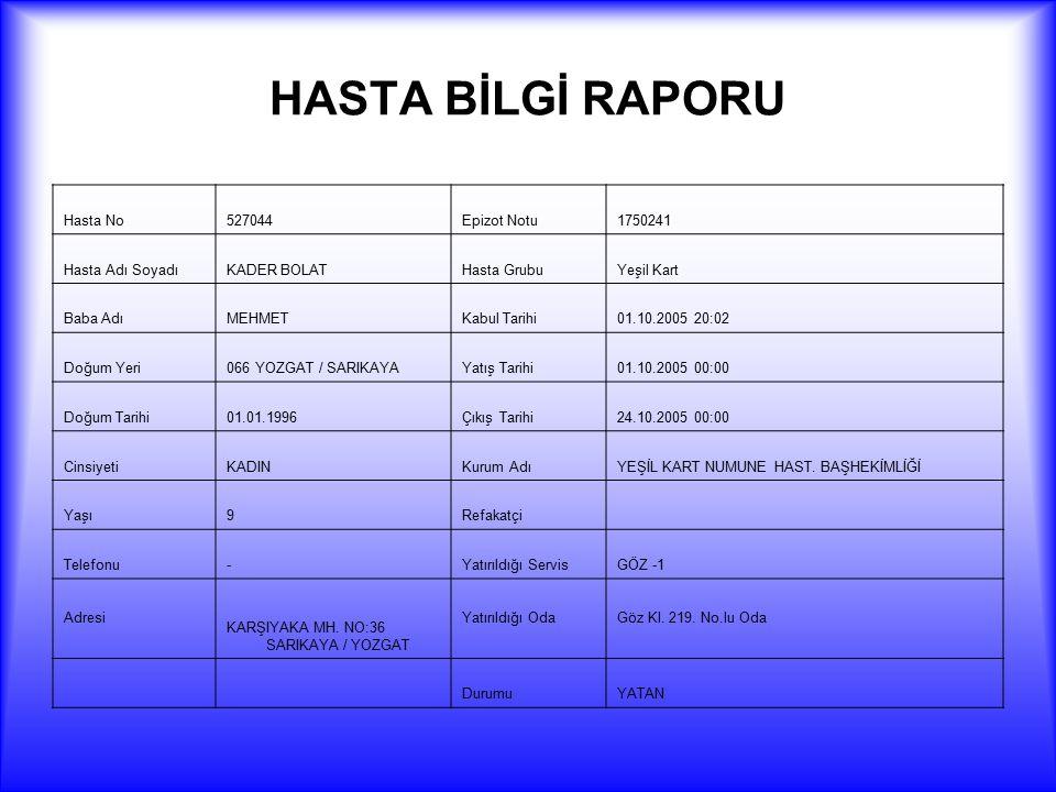 HASTA BİLGİ RAPORU Hasta No 527044 Epizot Notu 1750241