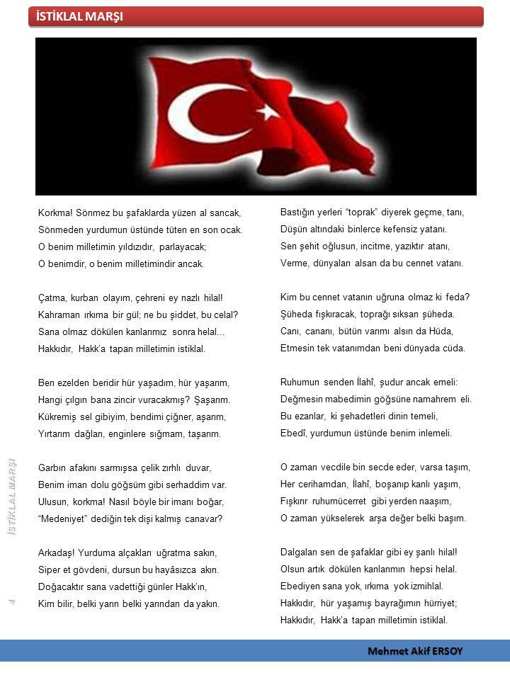 İSTİKLAL MARŞI Mehmet Akif ERSOY