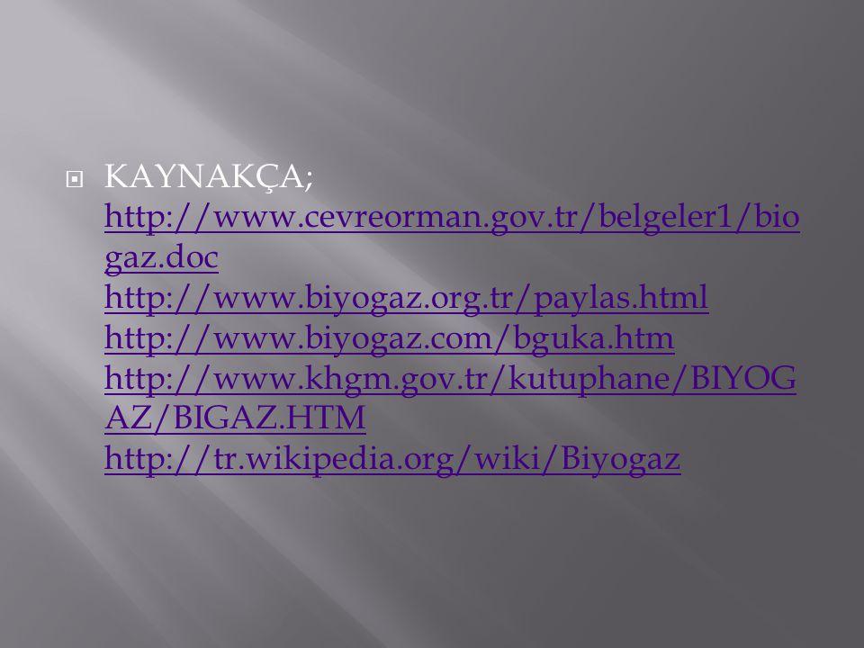 KAYNAKÇA; http://www. cevreorman. gov. tr/belgeler1/biogaz