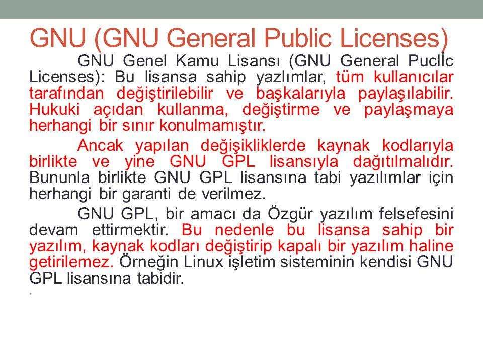 GNU (GNU General Public Licenses)
