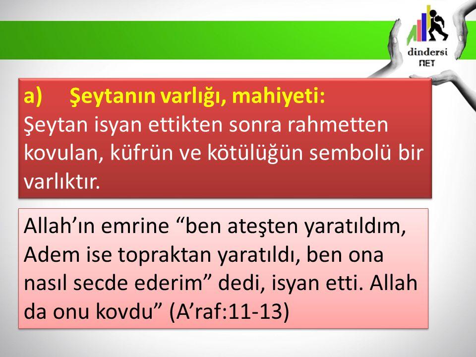 a) Şeytanın varlığı, mahiyeti: