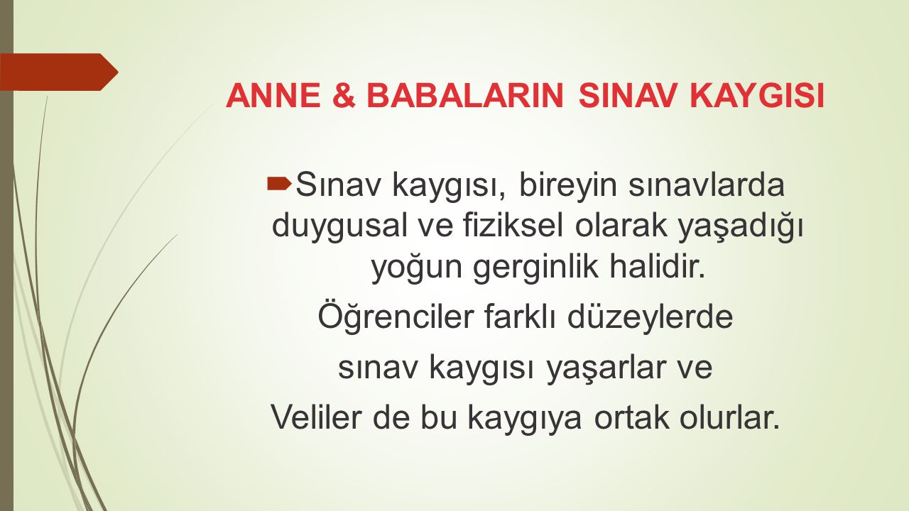 ANNE & BABALARIN SINAV KAYGISI