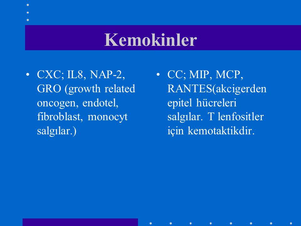 Kemokinler CXC; IL8, NAP-2, GRO (growth related oncogen, endotel, fibroblast, monocyt salgılar.)