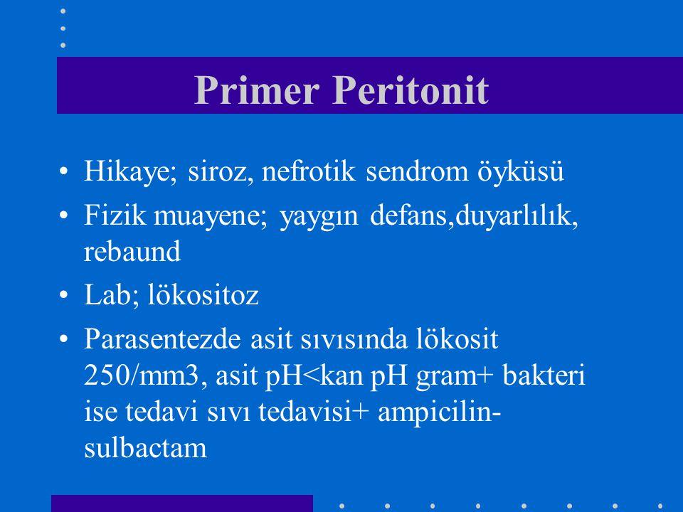 Primer Peritonit Hikaye; siroz, nefrotik sendrom öyküsü