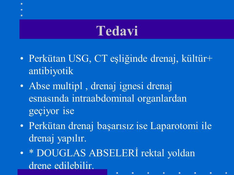 Tedavi Perkütan USG, CT eşliğinde drenaj, kültür+ antibiyotik