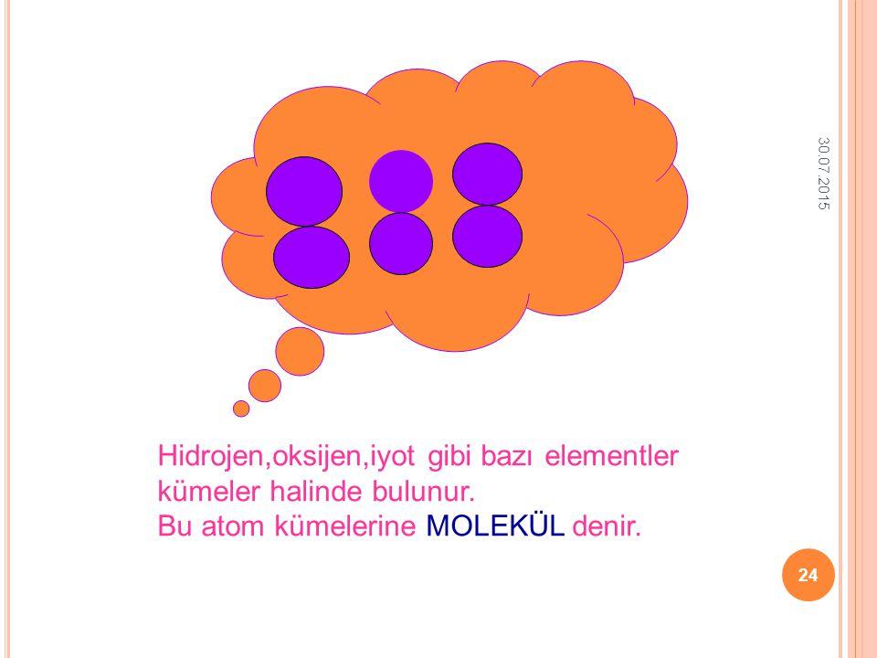 Hidrojen,oksijen,iyot gibi bazı elementler kümeler halinde bulunur.