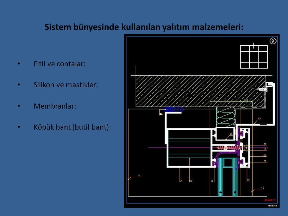 Sistem bünyesinde kullanılan yalıtım malzemeleri: