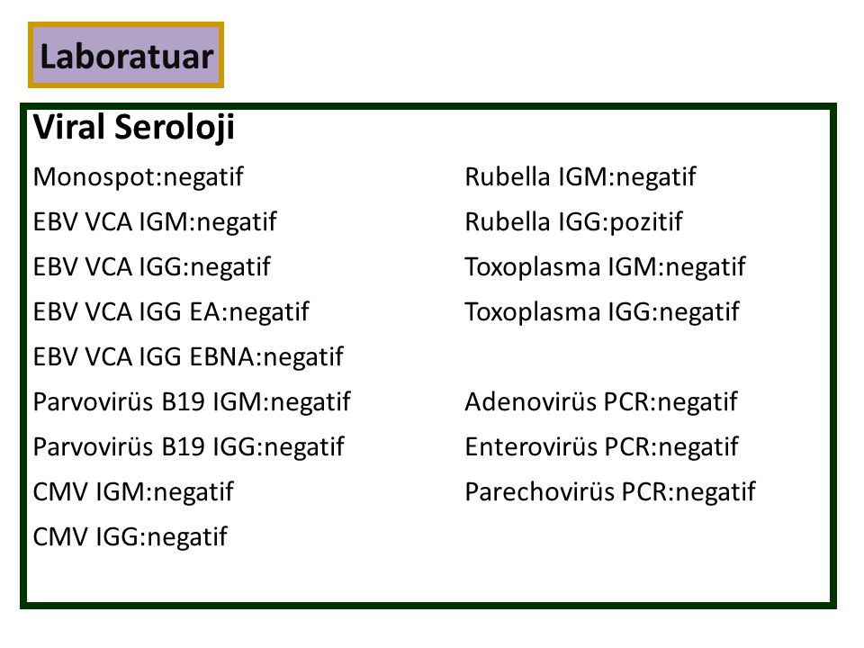 Laboratuar Viral Seroloji Monospot:negatif Rubella IGM:negatif
