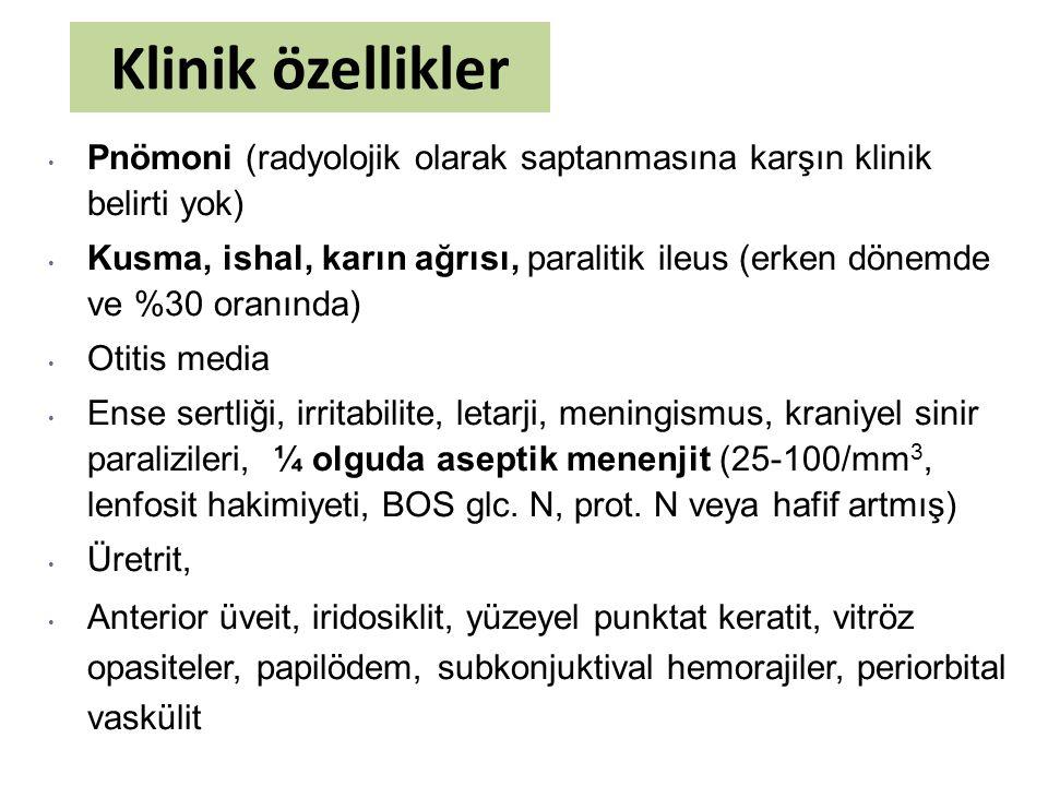 Klinik özellikler Pnömoni (radyolojik olarak saptanmasına karşın klinik belirti yok)