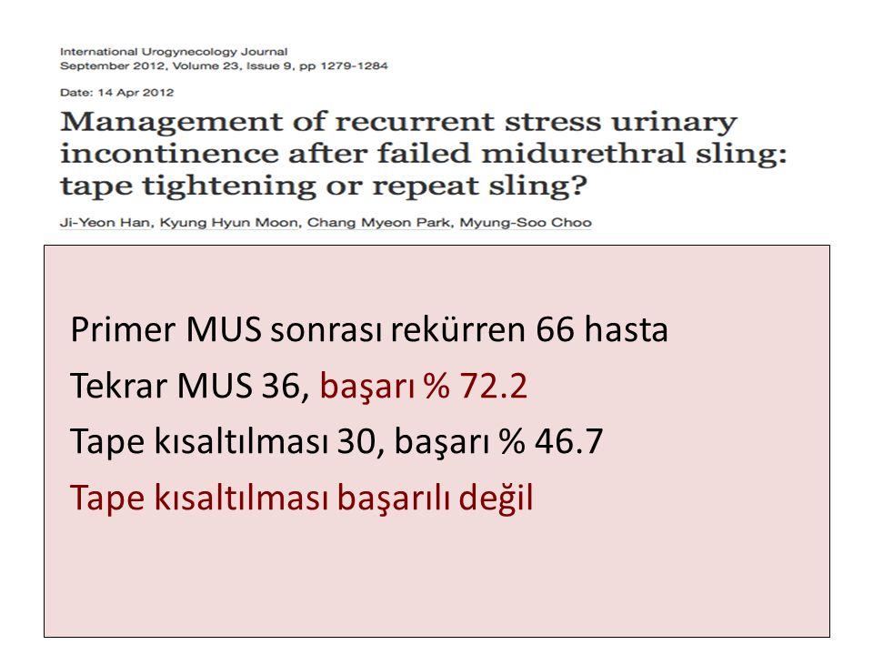 Primer MUS sonrası rekürren 66 hasta Tekrar MUS 36, başarı % 72