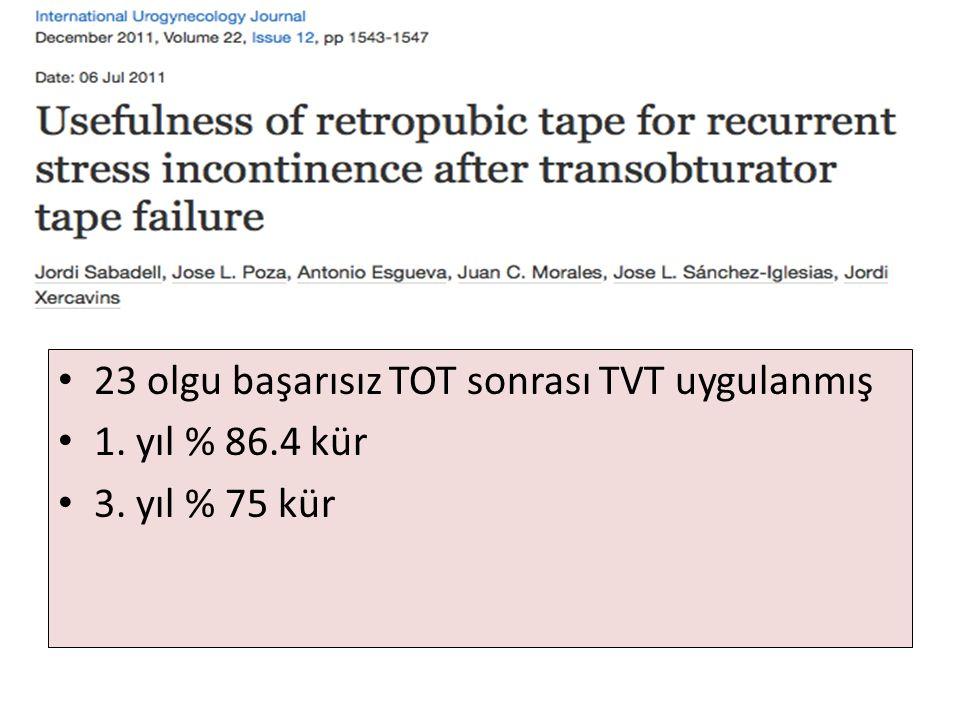 23 olgu başarısız TOT sonrası TVT uygulanmış
