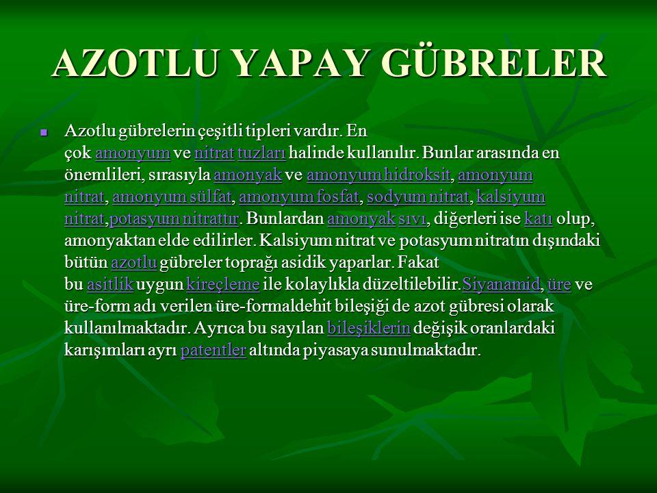 AZOTLU YAPAY GÜBRELER