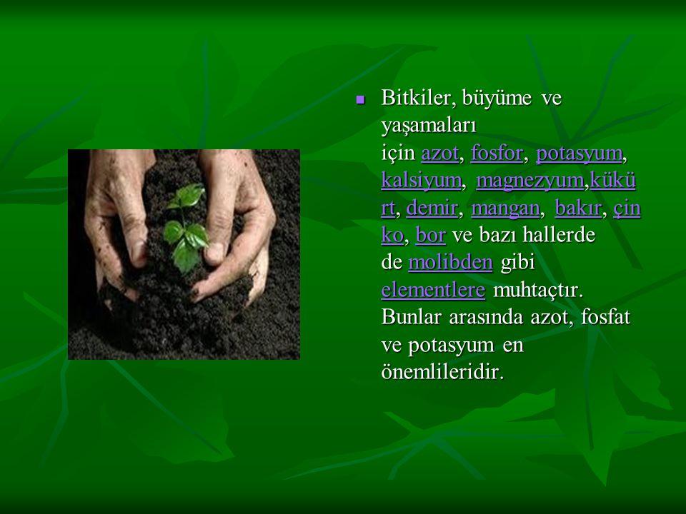 Bitkiler, büyüme ve yaşamaları için azot, fosfor, potasyum, kalsiyum, magnezyum,kükürt, demir, mangan, bakır, çinko, bor ve bazı hallerde de molibden gibi elementlere muhtaçtır.