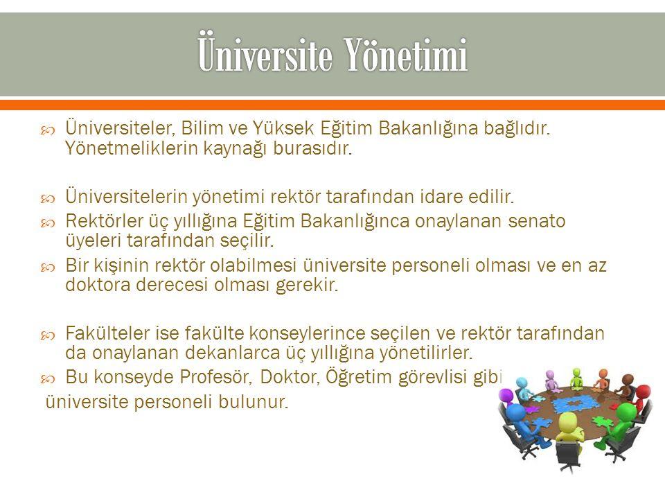 Üniversite Yönetimi Üniversiteler, Bilim ve Yüksek Eğitim Bakanlığına bağlıdır. Yönetmeliklerin kaynağı burasıdır.