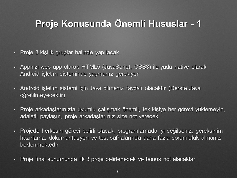 Proje Konusunda Önemli Hususlar - 1
