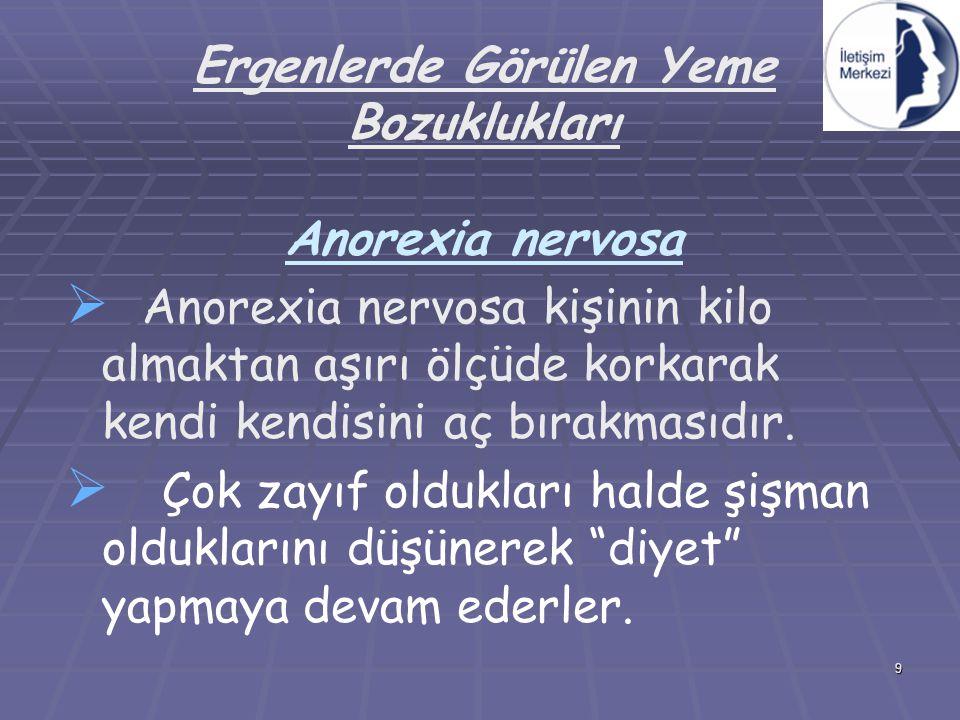 Ergenlerde Görülen Yeme Bozuklukları Anorexia nervosa