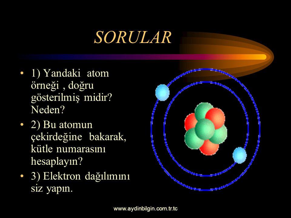 SORULAR 1) Yandaki atom örneği , doğru gösterilmiş midir Neden