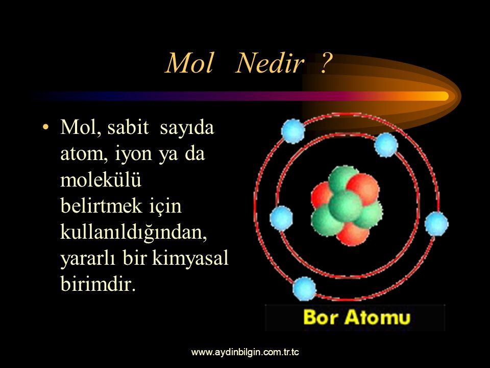 Mol Nedir Mol, sabit sayıda atom, iyon ya da molekülü belirtmek için kullanıldığından, yararlı bir kimyasal birimdir.