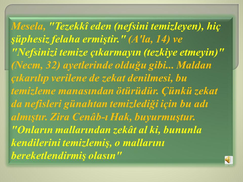 Mesela, Tezekkî eden (nefsini temizleyen), hiç şüphesiz felaha ermiştir. (A la, 14) ve Nefsinizi temize çıkarmayın (tezkiye etmeyin) (Necm, 32) ayetlerinde olduğu gibi...