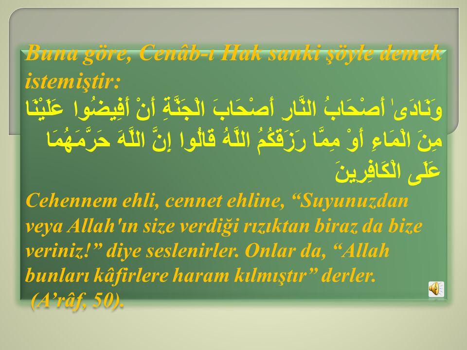 Buna göre, Cenâb-ı Hak sanki şöyle demek istemiştir: